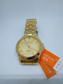 Relógio Dourado Chenxi Masculino Banhado A Ouro +brinde !