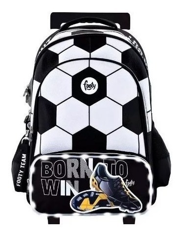 Mochila Footy 18¿ Futbol Born To Win Negro Y Blanco Luz Led