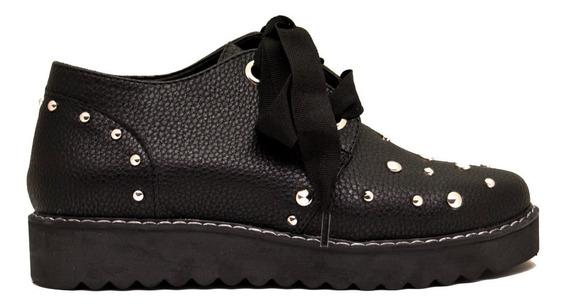 Zapatos Abotinado Mujer Cuero Ecológico Negro Con Tachas