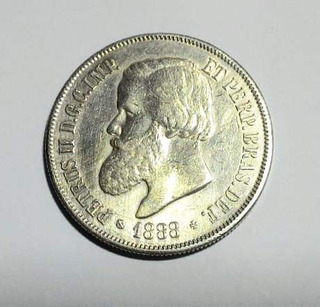 Moeda Antiga 2000 Réis 1889 Prata Petrus I I Rabicho Mbc L16