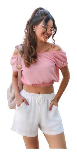Cropped Blusa Feminina Ciganinha Viscose Moda Ombro A Ombro