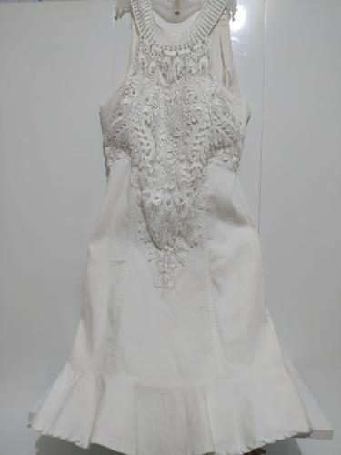 Vestido Manga Regata Rendado Branco