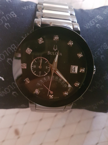 Relógio Bulova Diamonds Preto E Prata