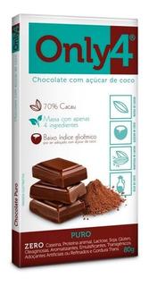 Chocolate Puro Cacau Sem Lactose Sem Glúten Vegano Only4 80g