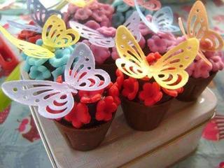 200 Borboletas Vazada De Papel Arroz Cupcakes