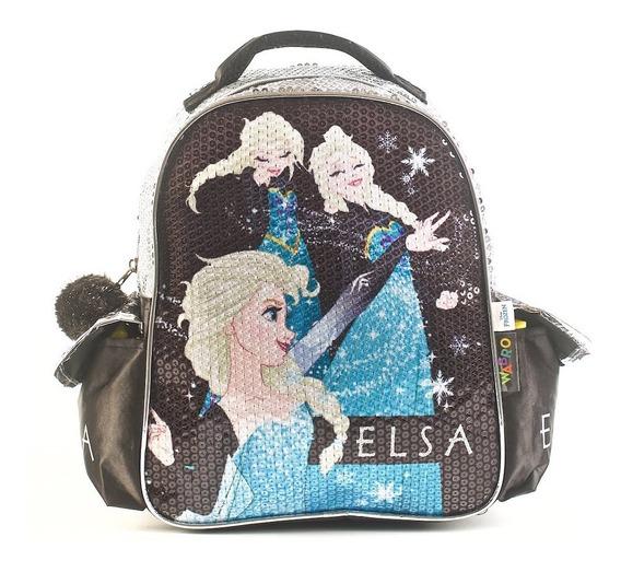 Mochila Escolar Jardin Frozen 12 - Elsa Lentejuelas