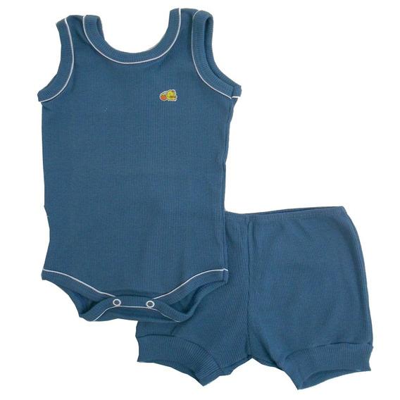 Conjunto Body E Short Azul Petróleo Vivo Branco - Baby Duck