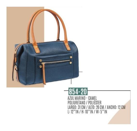 Bolsa De Mano Azul Marino /camel 854-20
