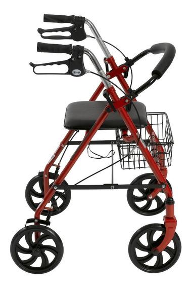 Andadera Andador Tipo Rollator Con Asiento Y Canastilla Rojo