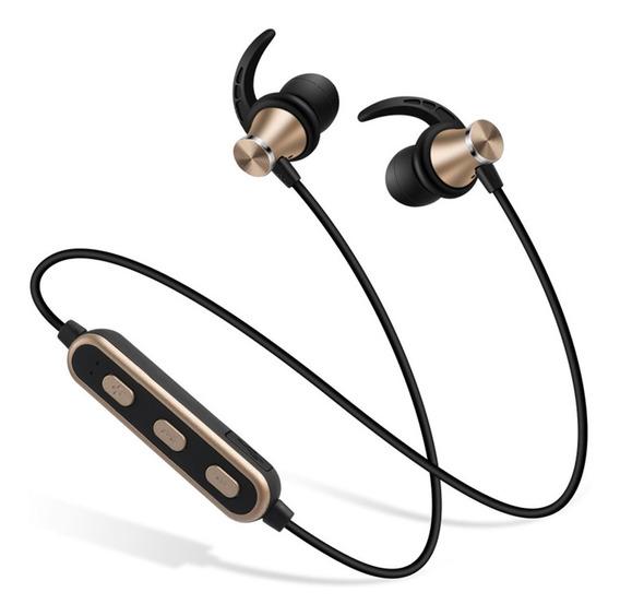 Fone De Ouvido Bluetooth Dourado Com Pescoço E Duas Orelhas