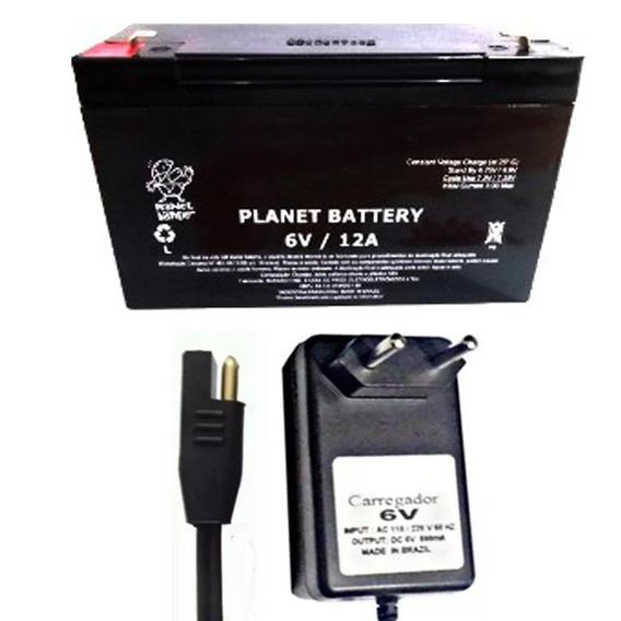 Kit Bateria 6v 12ah Original + Carregador 6v Moto Elétrica
