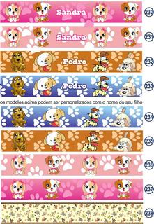 03 Faixa Parede Border Cachorrinho Cachorro Dog Animais
