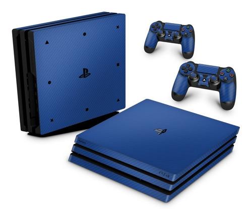 Imagem 1 de 3 de Skin Ps4 Pro Adesivo Playstation 4 Fibra De Carbono Azul