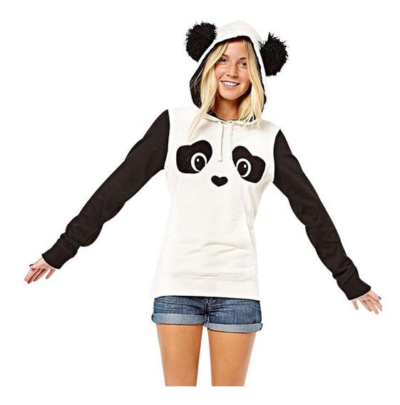 Moletom Feminino Panda Com Capuz De Orelha Panda - M