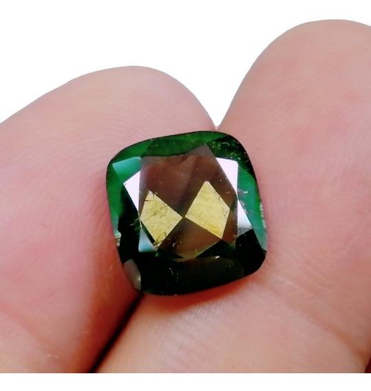 4.33cts Diamante Moissanita Verde Dorado Cushion Anillo