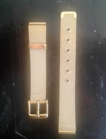 Antiga Pulseira De Relógio Esteira Dourada Adulto 19,5 Mm