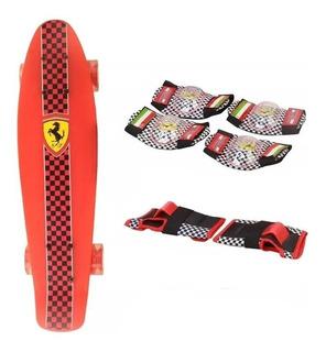 Skate Patineta Ferrari Set Proteccion Babymovil