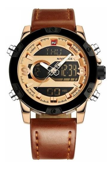 Relógio Masculino Em Couro Original C/ Caixa Naviforce 9097