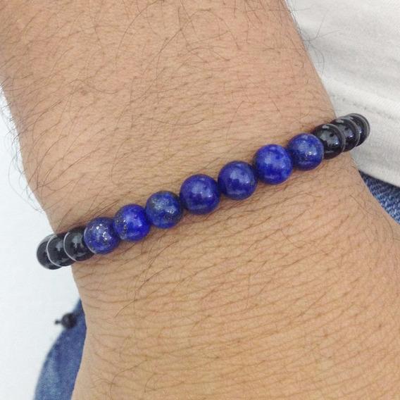 Pulseira Masculina Macrame Shambala Onix E Lapiz Lazuli