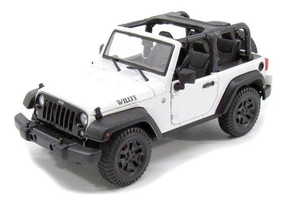 Miniatura Jeep Wrangler Willys 2014 Branco Maisto 1/18