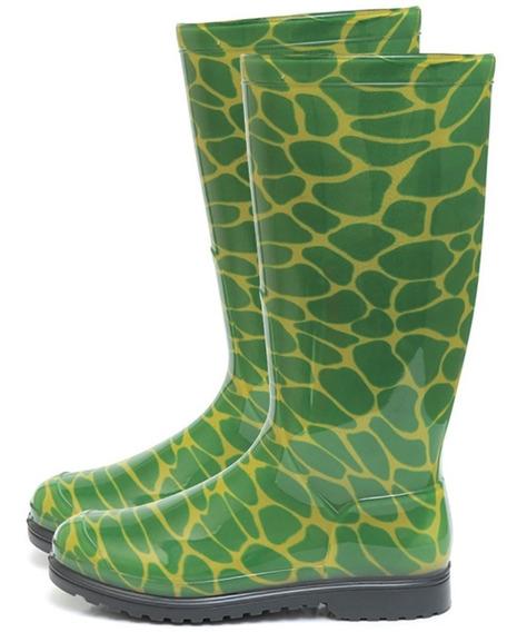 Bota Galocha Feminina Impermeável Cano Longo Verde M36