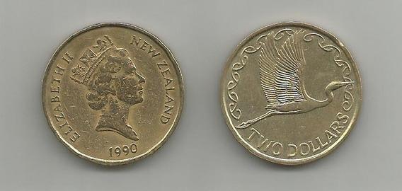 Moneda Nueva Zelanda Ave 2 D. 1990 Muy Buena