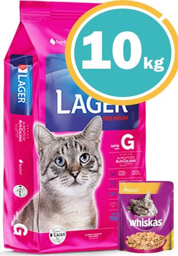 *alimento Lager Gatos Adulto 10kg C/salsa Y Envío S/cargo*
