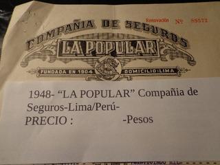 1948- Lima/ Perú- La Popular Compania De Seguros-c/ Fiscales