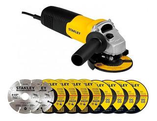 Amoladora Angular Stanley 115mm 4 1/2 710 W Mas 10 Discos