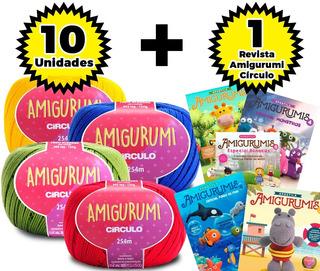 Fio Amigurumi Círculo - Kit 10 Unid + Revista Amigurumi