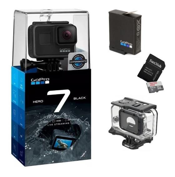 Câmera Gopro Hero7 Black 4k+cartão 64gb+bateria+ Cx Estanque
