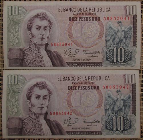 Imagen 1 de 4 de Billetes De Colombia Diez Pesos Oro- Series Consecutiva L 21