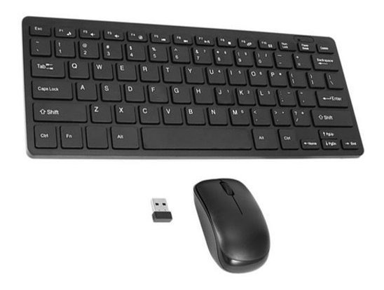Teclado E Mouse Usb Sem Fio 2.4 Ghz Mini Slim Pc, Tablet