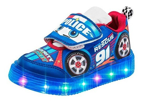 Tenis Para Niño Con Luces Little Kings 911 Rymt Azul Police Poi19