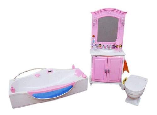 Baño Con Bañera Y Juego De Tocador De Barbie. Juego De Mue