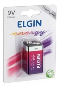Bateria Elgin 9v 250mah Recarregavel Frete Grátis!!!