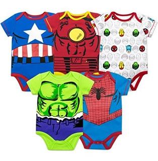 Marvel Baby Boys 5 Pack Bodysuits The Hulk Spiderman Iron Ma