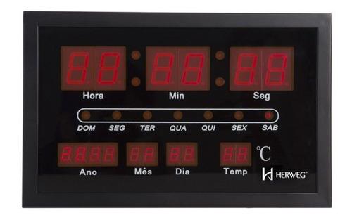 Reloj Pared Digital Calendario Termometro Herweg