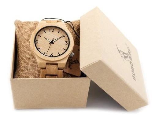 Relógio Bobo Bird Quartzo Madeira Bambu Caixa Original
