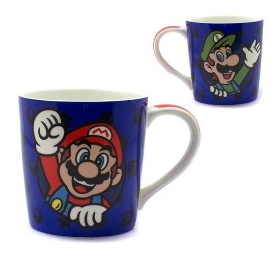 Caneca Mario Bros Luigi Video Game Jogo Nintendo Porcelana