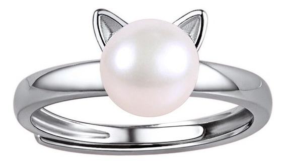 Eskaparate Anillo Gato Con Perla En Plata De Ley 925 Anillo Abierto Joyería Fina Para Dama, Anillo De Plata Para Mujer