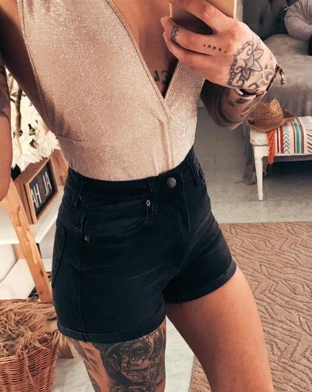 Short De Jeans Tiro Alto Elastizado De Mujer Dama Art 6778