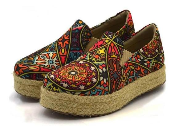 Tênis Sapatilha Feminino Slip On Flat Form Indiano Colorido