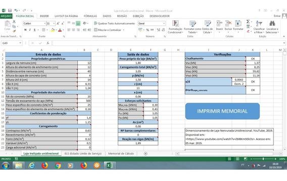 Planilha Para Cálculo De Laje Treliçada Unidirecional