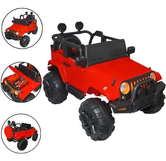 Mini Jipe Vermelho Elétrico Infantil 12v Controle Som Carro