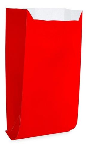 Imagem 1 de 3 de 50 Saquinhos Para Pipoca/hot Dog Liso Vermelho Gnd Festa