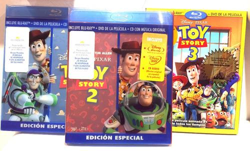 Toy Story 1 2 Y 3 Trilogia De Lujo Bluray Dvd Y Cd Nuevo