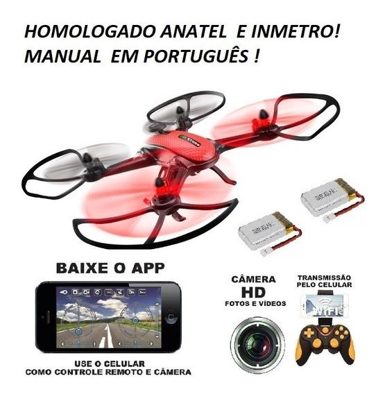 Drone Wifi Original Com Câmera + 2 Baterias+ Acessórios Top