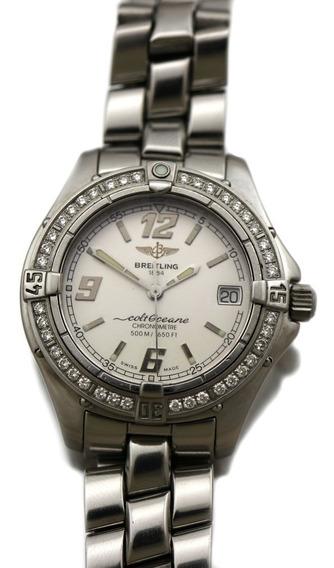 Relogio De Pulso Breitling Em Aço E Diamante A57350 J22435