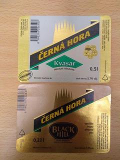 2 Etiquetas Cerveza Checa Czerna Hora. Kvasar, Black Hill